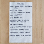 To Do list on a napkin.