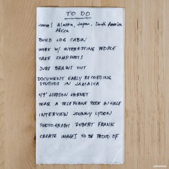 To Do list on a napkin.