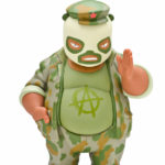 Product photography of vinyl toy Camo El Panda designed by Frank Kozik.