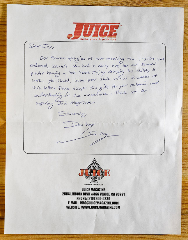 letter from Juice Magazine