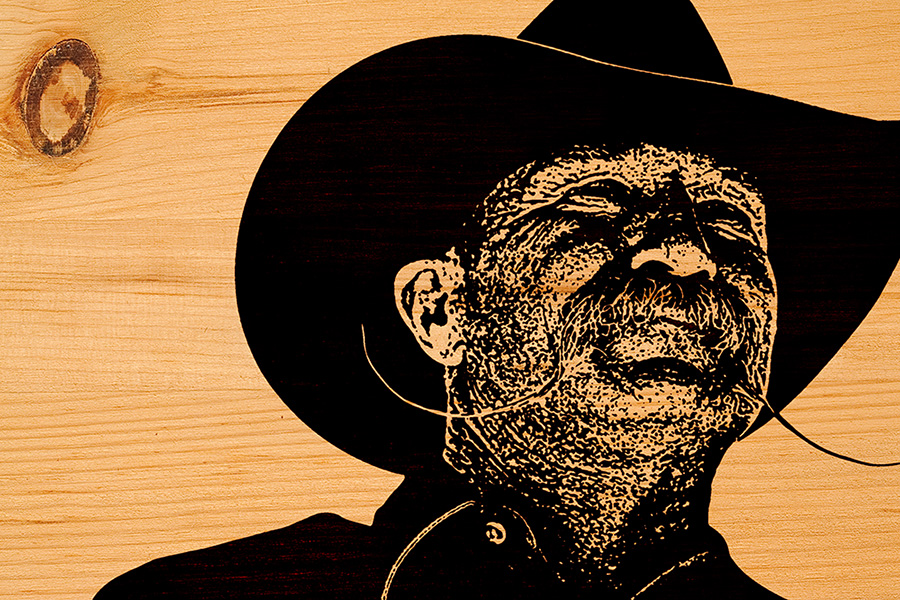 Photo illustration cowboy on wood
