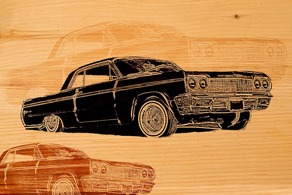 1964 Impala lowrider. mounted on wood