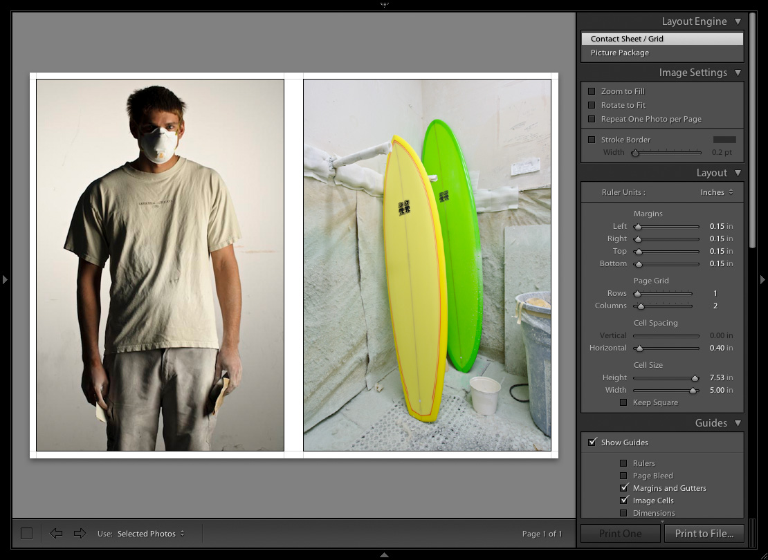 Adobe Lightroom Tutorial: screen capture of diptych settings.