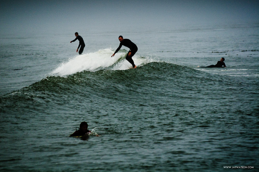 Foggy day of surfing at Capitola, CA