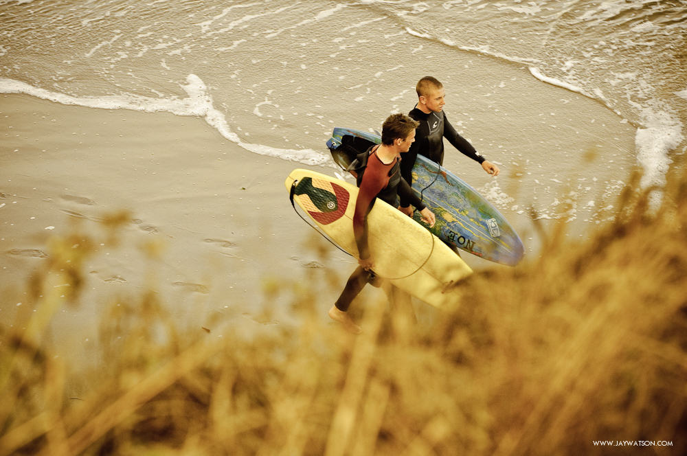 Surfers at The Hook. Santa Cruz, CA