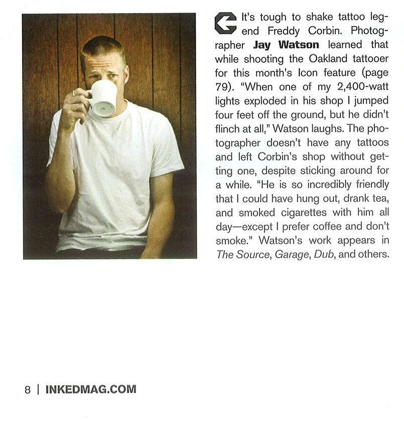 Inked Magazine, contributor section Nov issue