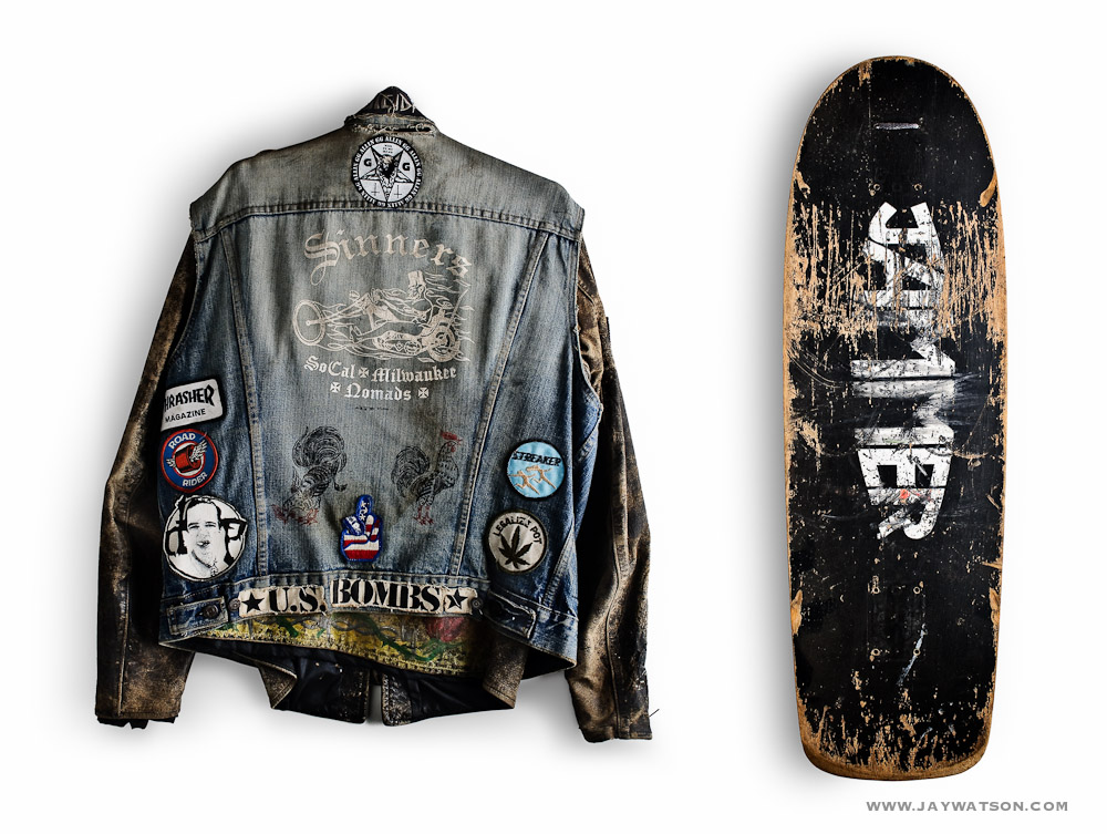 Sinners and Jammers jacket and skateboard deck.