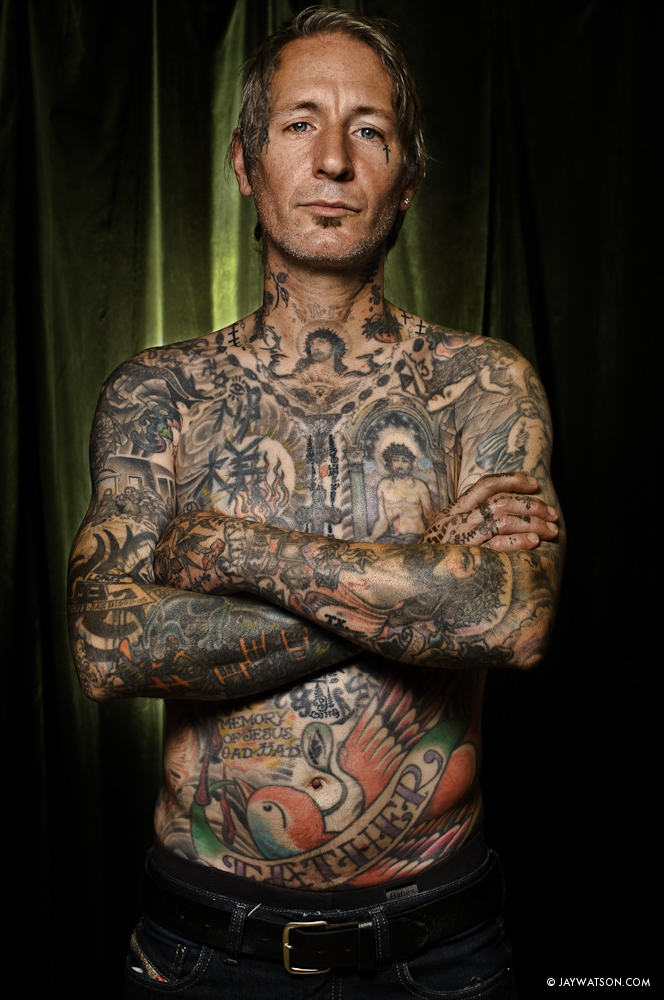 photo illustration portrait of tattoo artist Freddy Corbin
