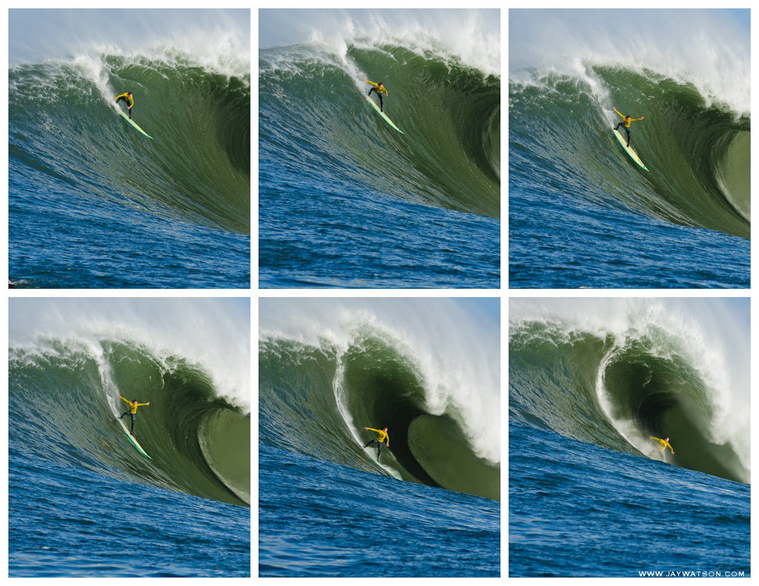surfer Zach Wormhoudt surfing Mavericks Half Moon Bay, CA