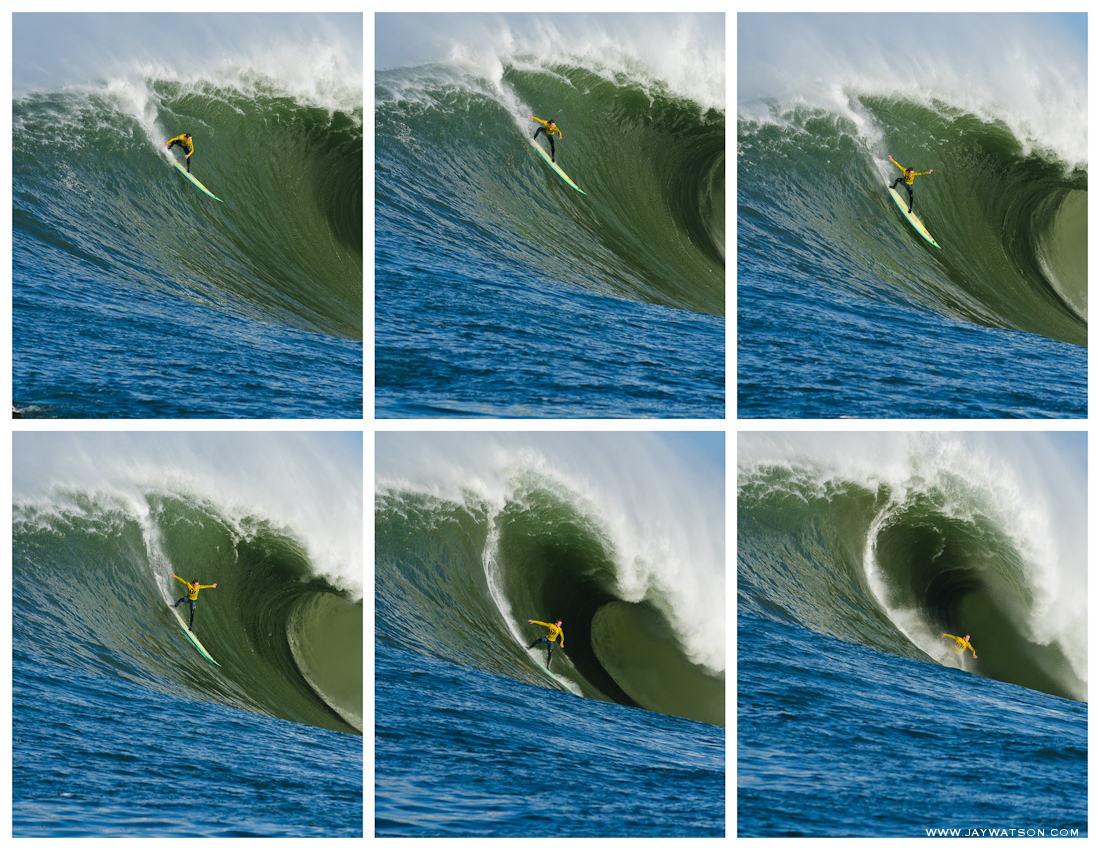 surfer Zach Wormhoudt surfing Mavericks Half Moon Bay, CA