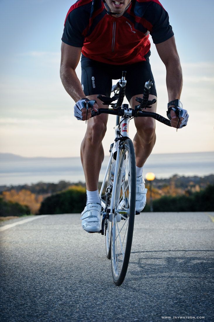Triathlete Eric Clarkson cycling in Santa Cruz, CA