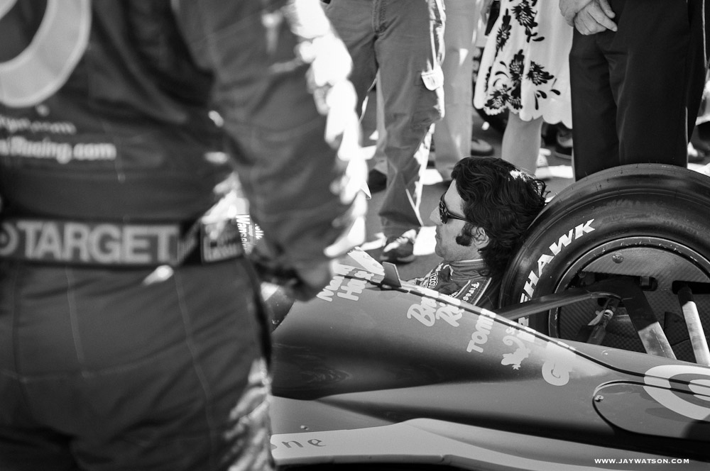 Dario Franchitti during his pre race ritual.