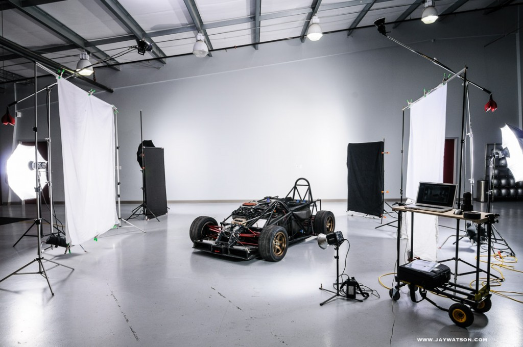 Behind the scenes set up for the studio car shots.