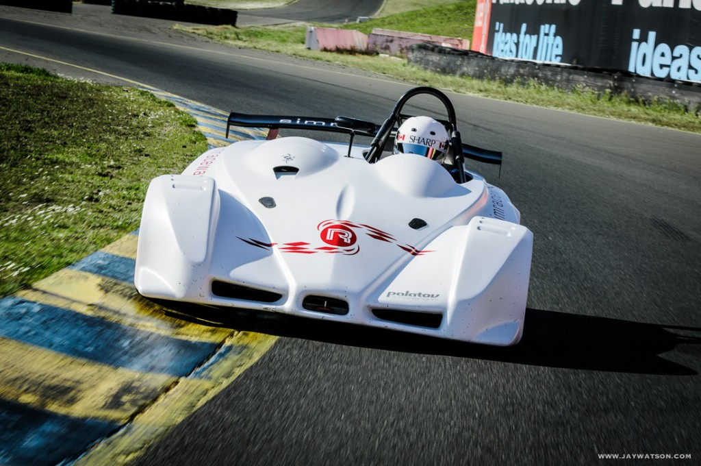 Brian Makse tests the Palatov race car at Infineon Raceway for an editorial feature in EVO Magazine.