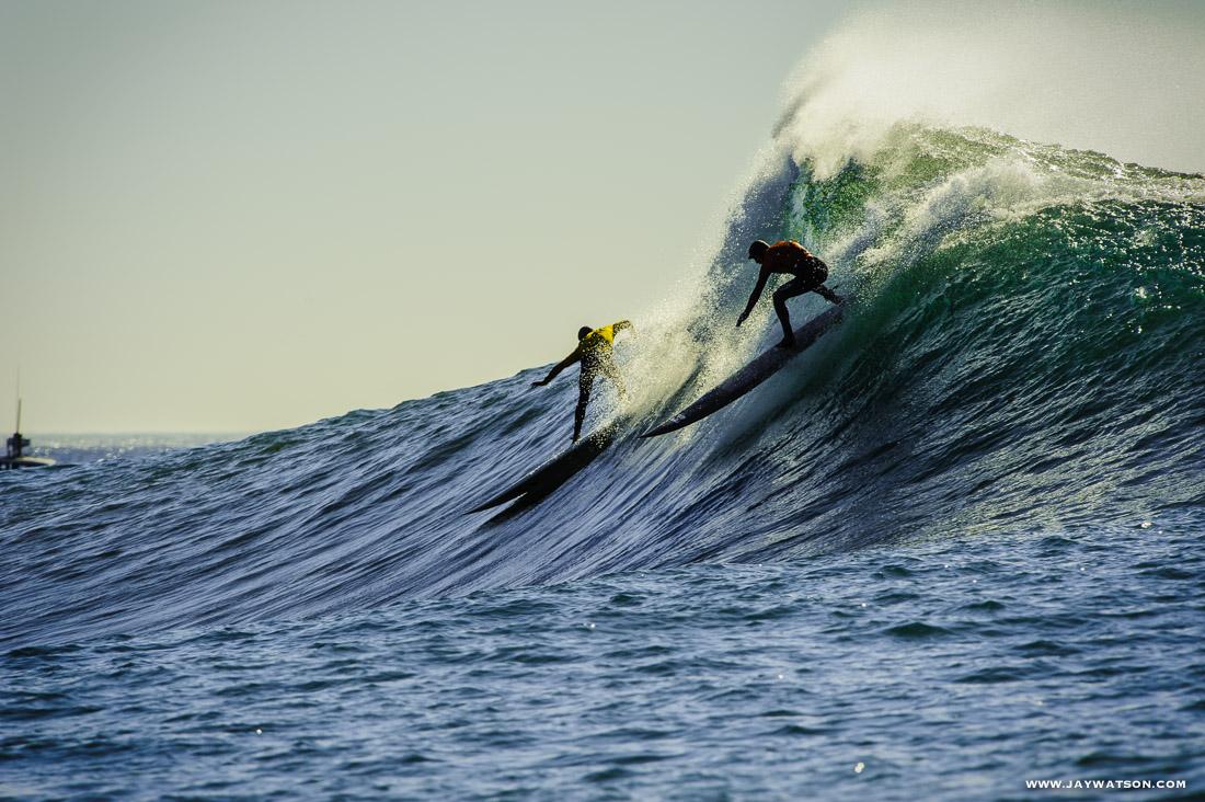 Surfers at Mavericks. Half Moon Bay, CA