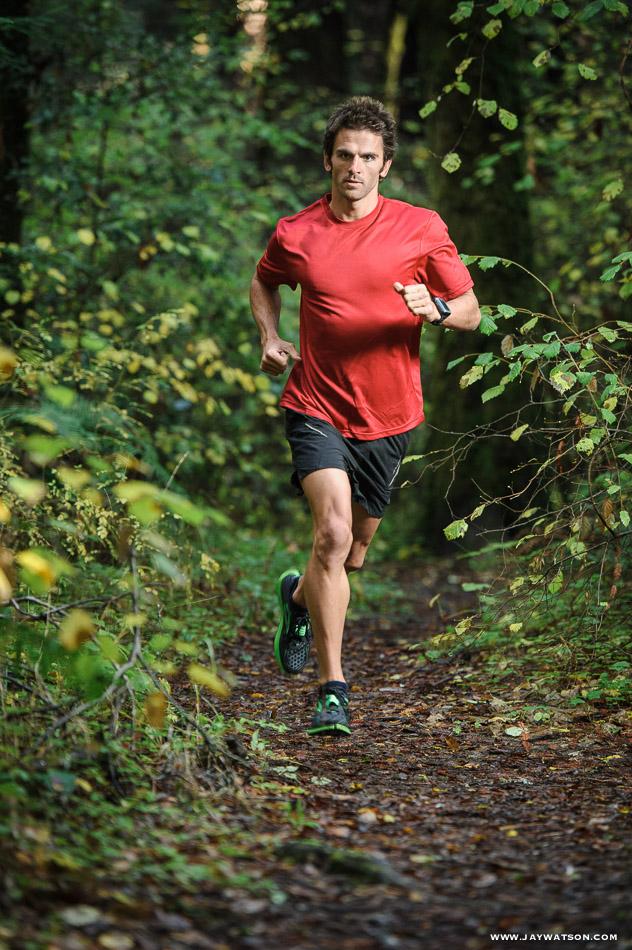 Triathlete Eric Clarkson trail running.