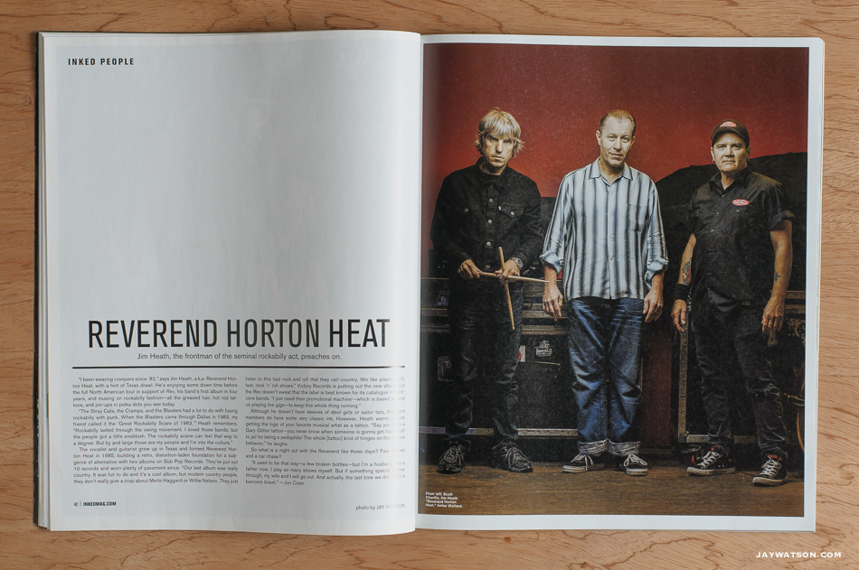 Tearsheet of Reverend Horton Heat in Inked Magazine.