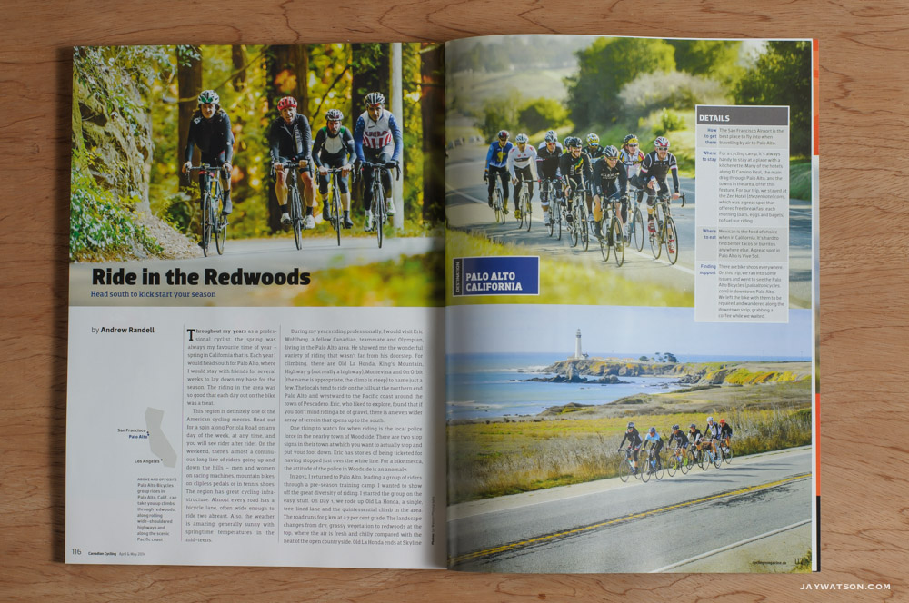 "Editorial: ""Ride In The Redwoods"" Canadian Cycling Magazine"