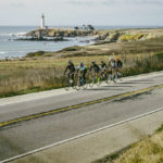 Group ride passing the Pigeon Point Lighthouse in Pescadero