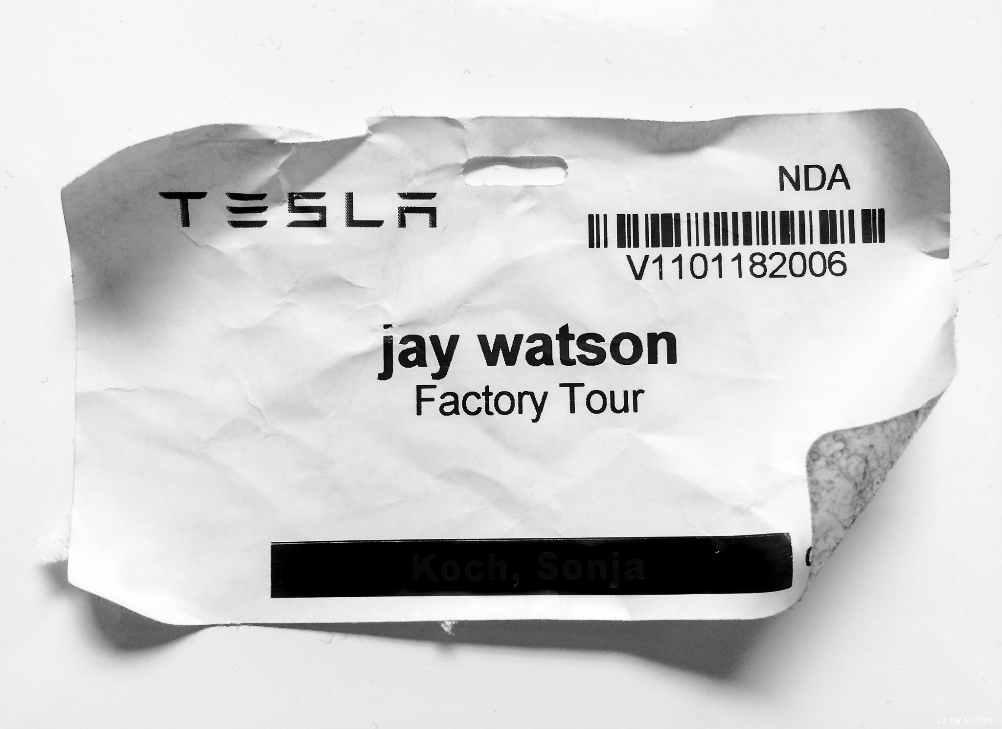 Tesla factory tour badge